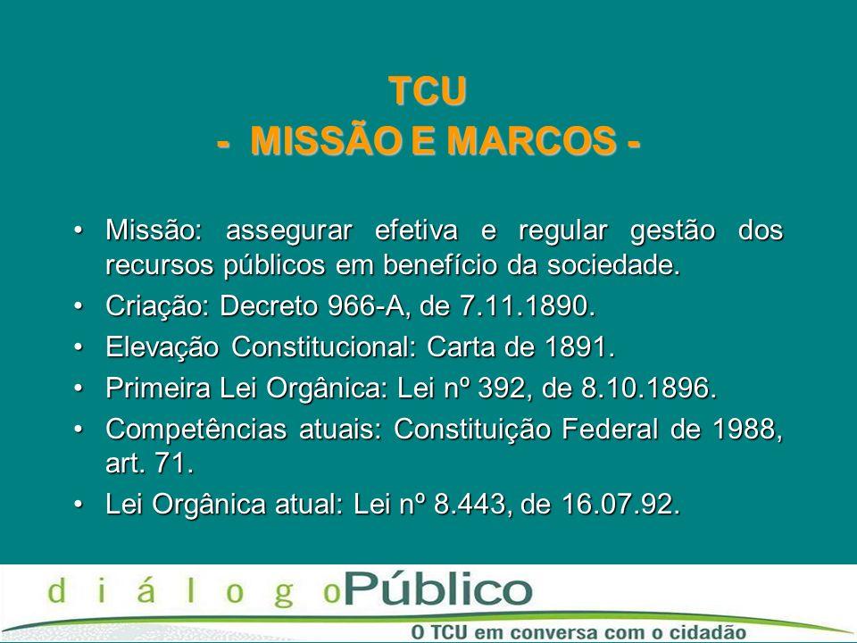 TCU - MISSÃO E MARCOS - Missão: assegurar efetiva e regular gestão dos recursos públicos em benefício da sociedade.Missão: assegurar efetiva e regular