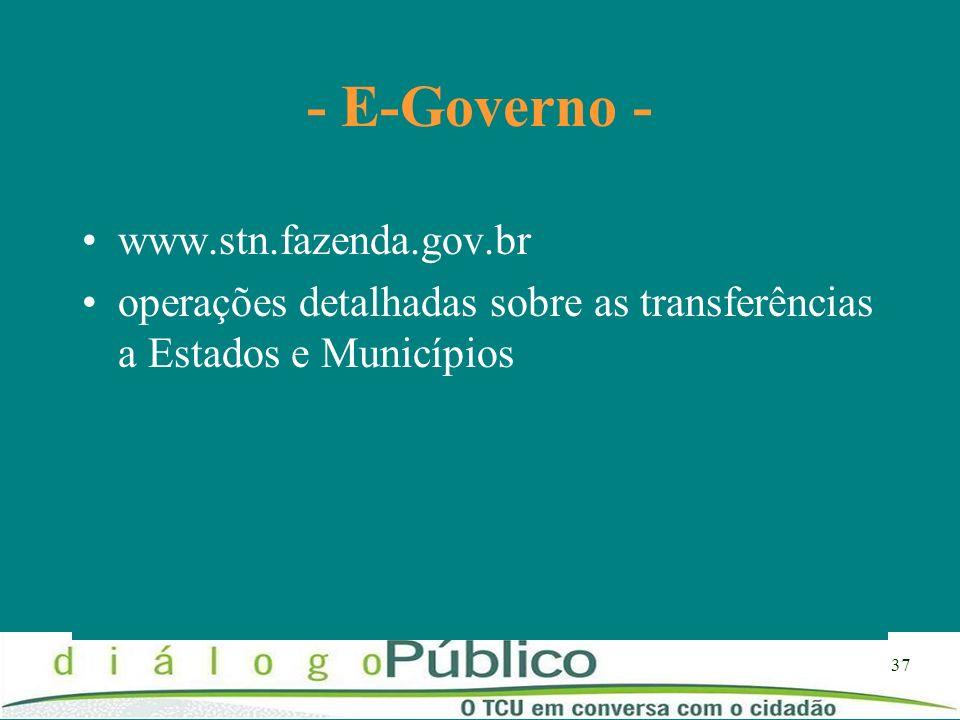 37 - E-Governo - www.stn.fazenda.gov.br operações detalhadas sobre as transferências a Estados e Municípios