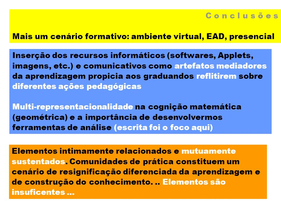 C o n c l u s õ e s Mais um cenário formativo: ambiente virtual, EAD, presencial Inserção dos recursos informáticos (softwares, Applets, imagens, etc.