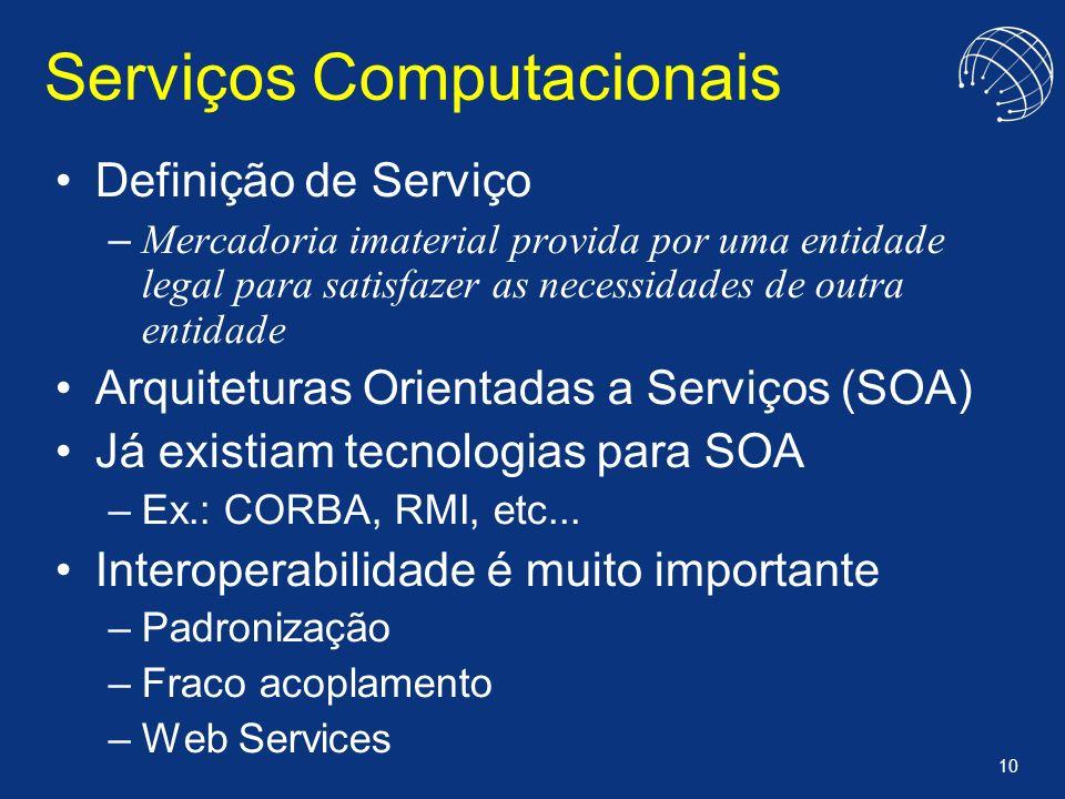 10 Serviços Computacionais Definição de Serviço – Mercadoria imaterial provida por uma entidade legal para satisfazer as necessidades de outra entidad