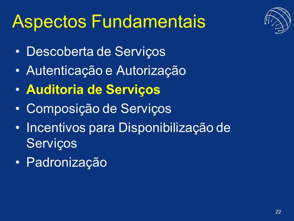 22 Aspectos Fundamentais Descoberta de Serviços Autenticação e Autorização Auditoria de Serviços Composição de Serviços Incentivos para Disponibilizaç