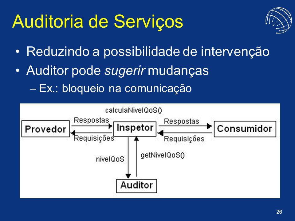 26 Auditoria de Serviços Reduzindo a possibilidade de intervenção Auditor pode sugerir mudanças –Ex.: bloqueio na comunicação
