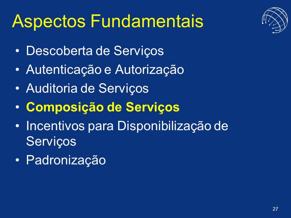 27 Aspectos Fundamentais Descoberta de Serviços Autenticação e Autorização Auditoria de Serviços Composição de Serviços Incentivos para Disponibilizaç