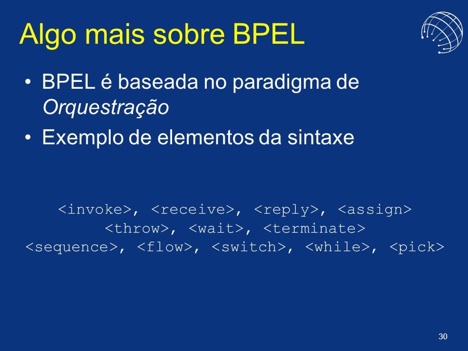 30 Algo mais sobre BPEL BPEL é baseada no paradigma de Orquestração Exemplo de elementos da sintaxe,,,,,,,,,