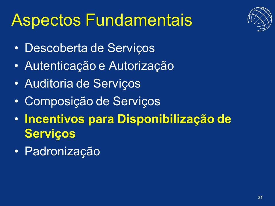 31 Aspectos Fundamentais Descoberta de Serviços Autenticação e Autorização Auditoria de Serviços Composição de Serviços Incentivos para Disponibilizaç