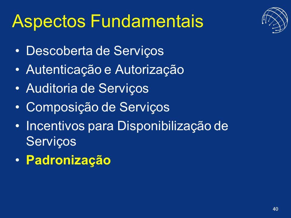 40 Aspectos Fundamentais Descoberta de Serviços Autenticação e Autorização Auditoria de Serviços Composição de Serviços Incentivos para Disponibilizaç