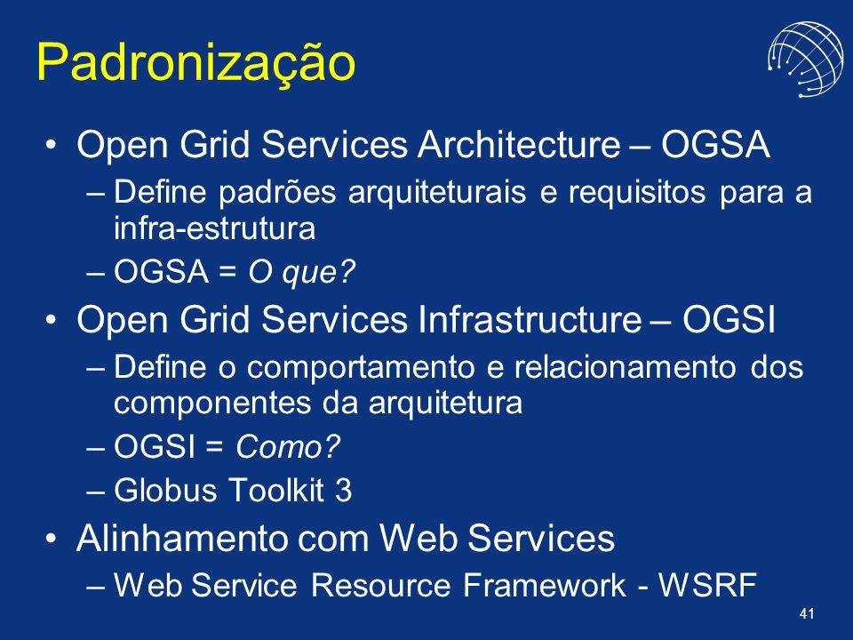 41 Padronização Open Grid Services Architecture – OGSA –Define padrões arquiteturais e requisitos para a infra-estrutura –OGSA = O que? Open Grid Serv