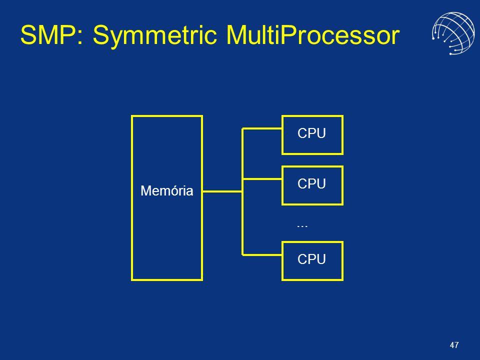 47 SMP: Symmetric MultiProcessor Memória CPU... CPU