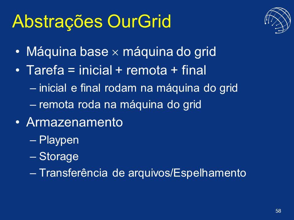 58 Abstrações OurGrid Máquina base máquina do grid Tarefa = inicial + remota + final –inicial e final rodam na máquina do grid –remota roda na máquina