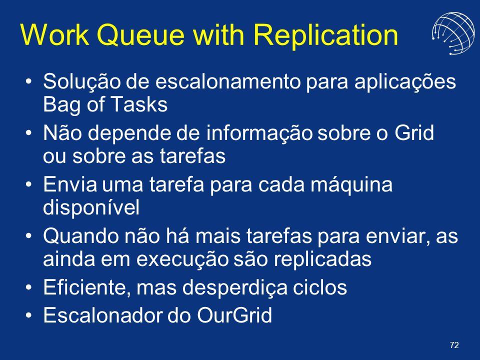 72 Work Queue with Replication Solução de escalonamento para aplicações Bag of Tasks Não depende de informação sobre o Grid ou sobre as tarefas Envia