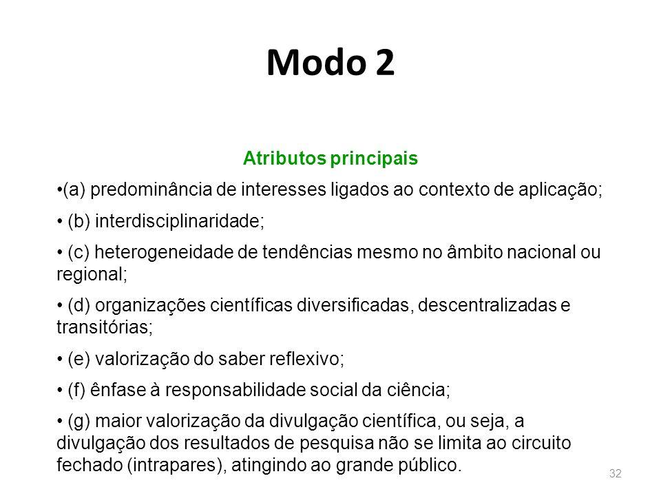 31 Modo1 Atributos principais (a) predominância de interesses acadêmicos; (b) contexto monodisciplinar; (c) homogeneidade de tendências na comunidade