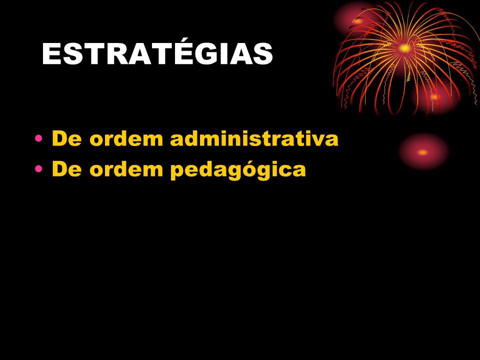 ESTRATÉGIAS De ordem administrativa De ordem pedagógica