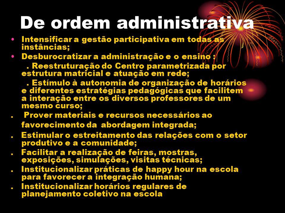 De ordem administrativa Intensificar a gestão participativa em todas as instâncias; Desburocratizar a administração e o ensino :. Reestruturação do Ce