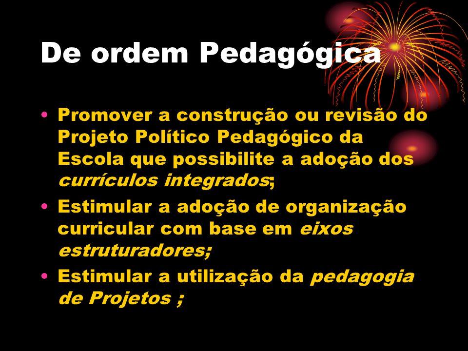De ordem Pedagógica Promover a construção ou revisão do Projeto Político Pedagógico da Escola que possibilite a adoção dos currículos integrados; Esti