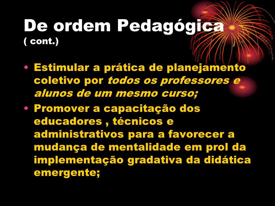 De ordem Pedagógica ( cont.) Estimular a prática de planejamento coletivo por todos os professores e alunos de um mesmo curso; Promover a capacitação