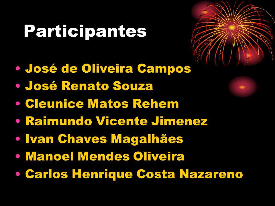 Participantes José de Oliveira Campos José Renato Souza Cleunice Matos Rehem Raimundo Vicente Jimenez Ivan Chaves Magalhães Manoel Mendes Oliveira Car