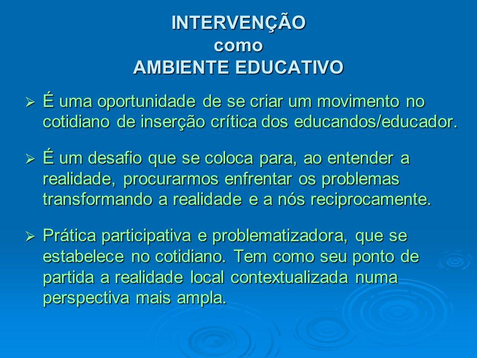 AMBIENTES EDUCATIVOS de INTERVENÇÃO EXERCITAR A PRÁXIS EDUCATIVA: REFELEXÃO-AÇÃO PROMOVER CONSTRUÇÃO DE NOVOS SENTIDOS VIVENCIAR MOVIMENTOS COLETIVOS