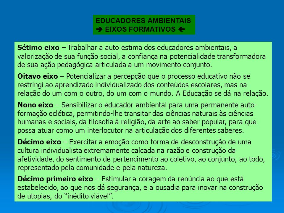 EDUCADORES AMBIENTAIS EIXOS FORMATIVOS Primeiro eixo – Exercitar o esforço de ruptura com a armadilha paradigmática. (eixo transversal) Segundo eixo –