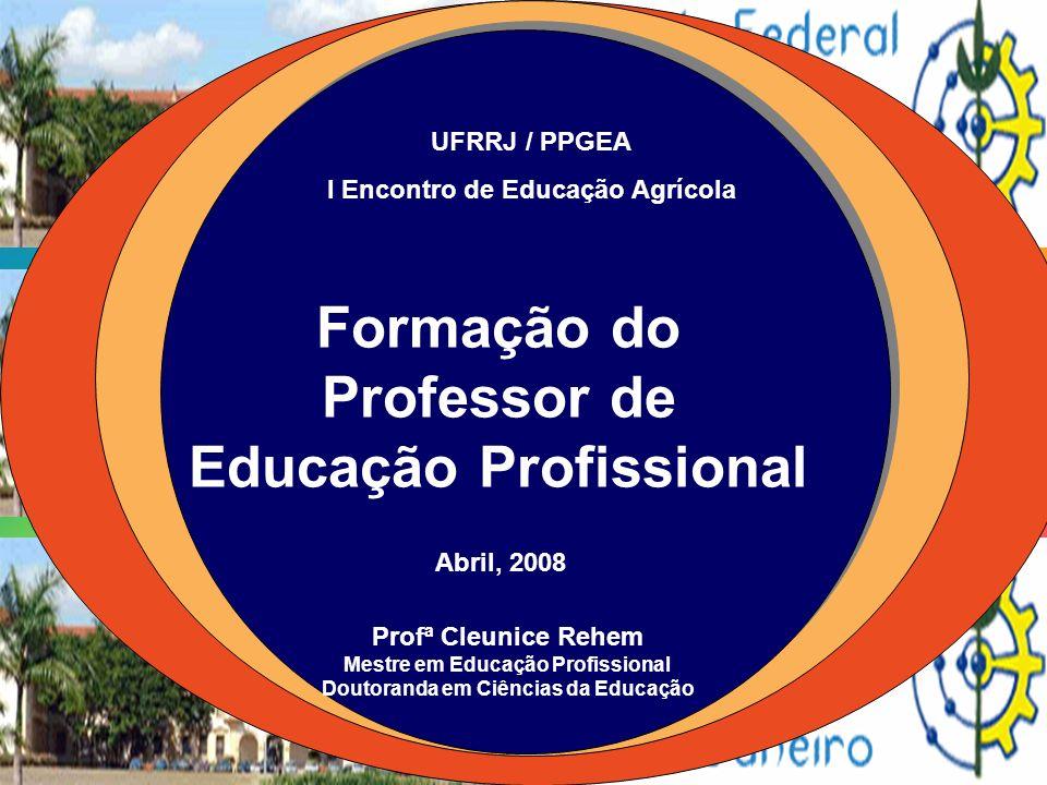 Formação do Professor de Educação Profissional Profª Cleunice Rehem Mestre em Educação Profissional Doutoranda em Ciências da Educação UFRRJ / PPGEA I