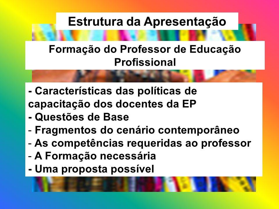 Estrutura da Apresentação Formação do Professor de Educação Profissional - Características das políticas de capacitação dos docentes da EP - Questões