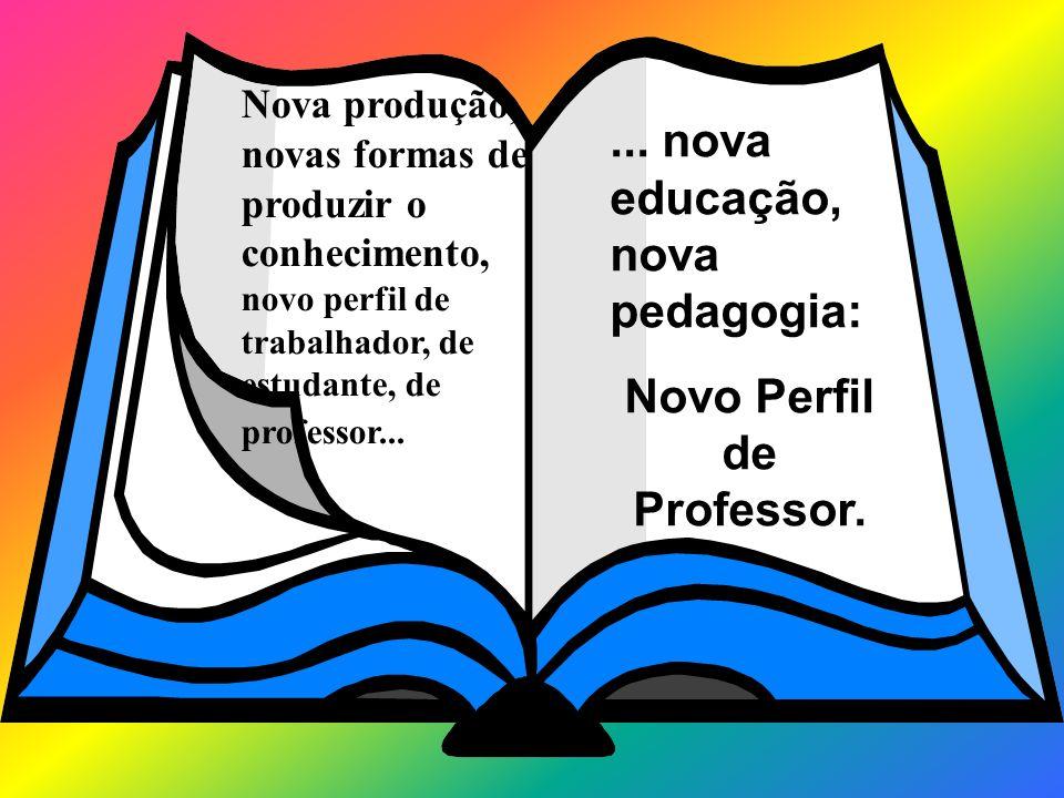 Nova produção, novas formas de produzir o conhecimento, novo perfil de trabalhador, de estudante, de professor...... nova educação, nova pedagogia: No