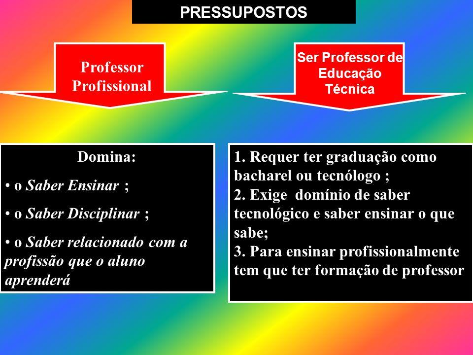 Domina: o Saber Ensinar ; o Saber Disciplinar ; o Saber relacionado com a profissão que o aluno aprenderá Professor Profissional 1. Requer ter graduaç