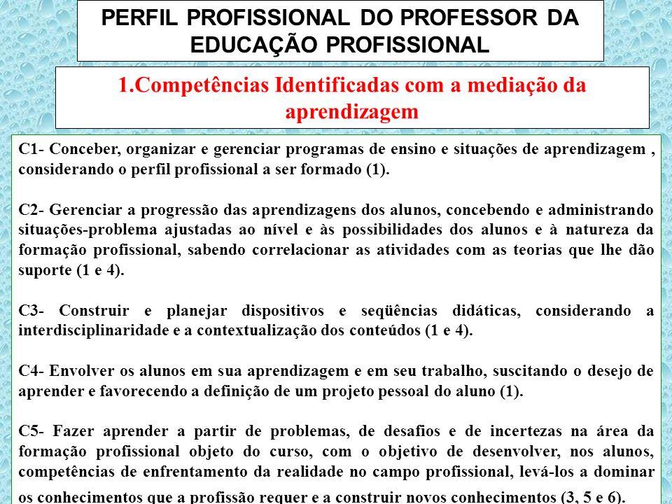 PERFIL PROFISSIONAL DO PROFESSOR DA EDUCAÇÃO PROFISSIONAL C1- Conceber, organizar e gerenciar programas de ensino e situações de aprendizagem, conside