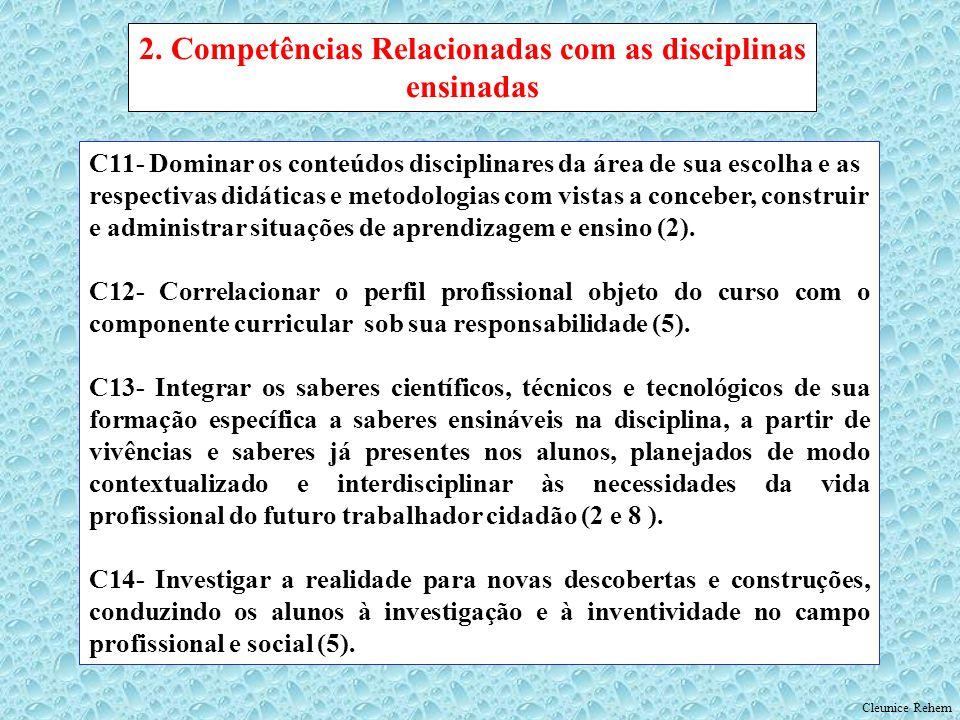 C11- Dominar os conteúdos disciplinares da área de sua escolha e as respectivas didáticas e metodologias com vistas a conceber, construir e administra