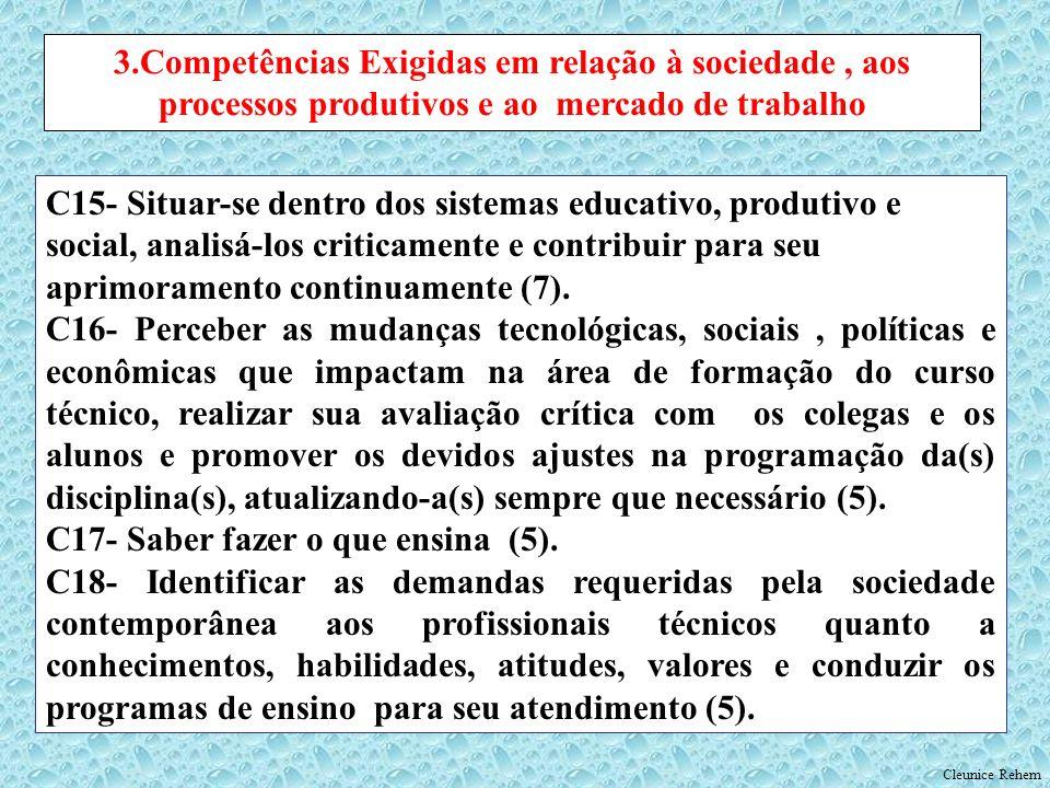 C15- Situar-se dentro dos sistemas educativo, produtivo e social, analisá-los criticamente e contribuir para seu aprimoramento continuamente (7). C16-