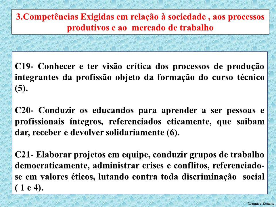 C19- Conhecer e ter visão crítica dos processos de produção integrantes da profissão objeto da formação do curso técnico (5). C20- Conduzir os educand