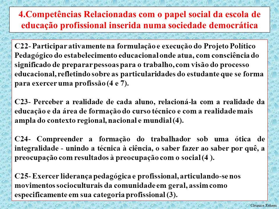 C22- Participar ativamente na formulação e execução do Projeto Político Pedagógico do estabelecimento educacional onde atua, com consciência do signif