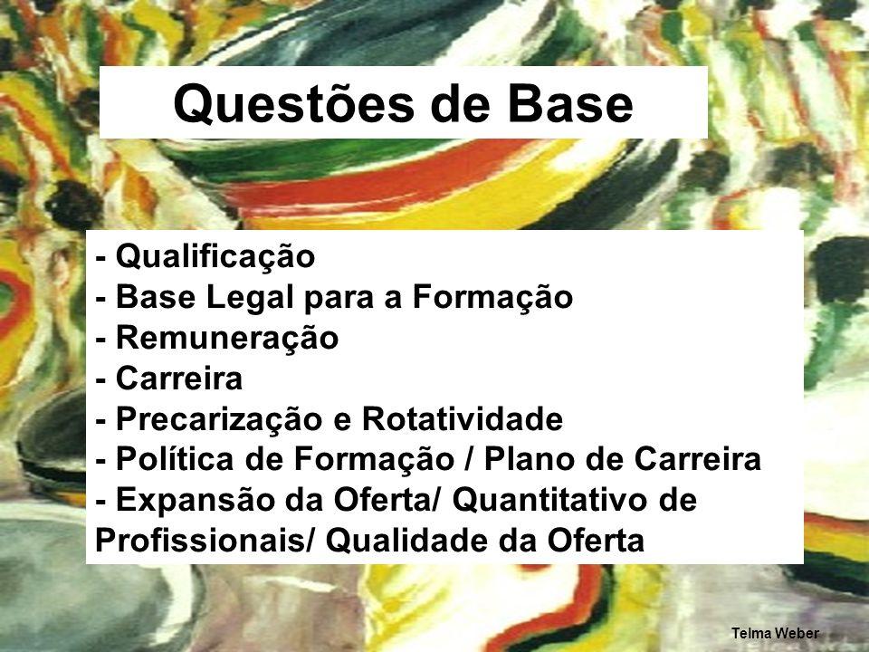 Questões de Base - Qualificação - Base Legal para a Formação - Remuneração - Carreira - Precarização e Rotatividade - Política de Formação / Plano de