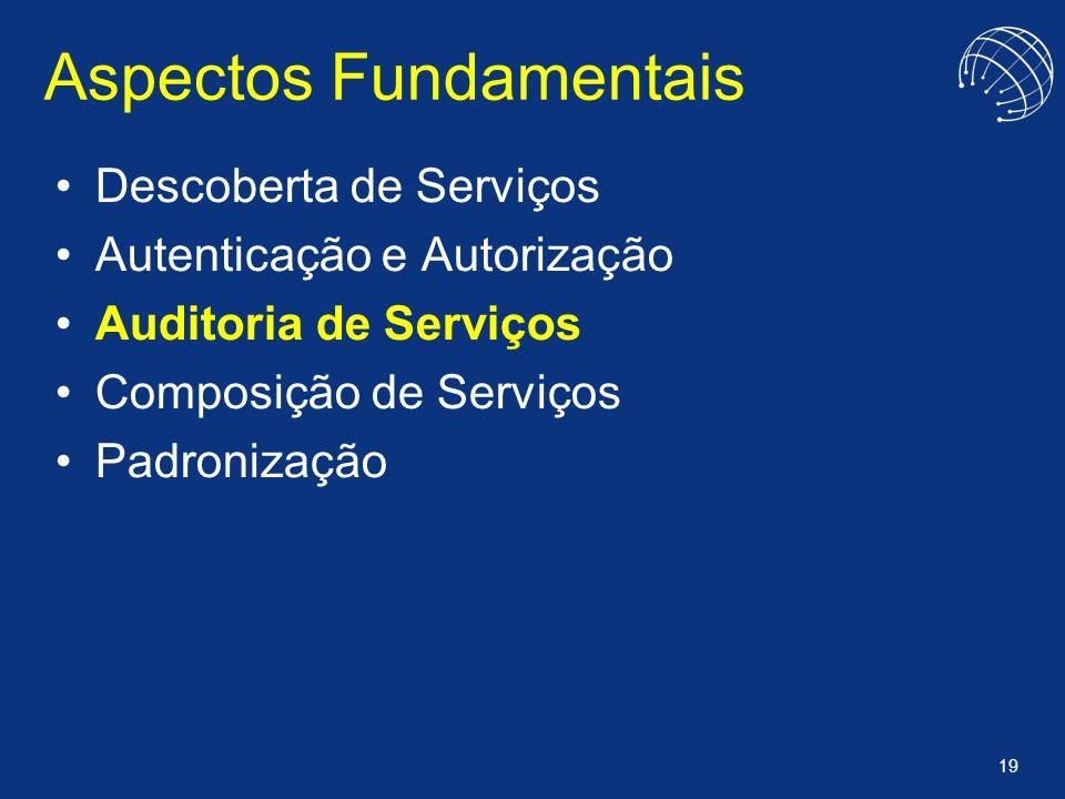 19 Aspectos Fundamentais Descoberta de Serviços Autenticação e Autorização Auditoria de Serviços Composição de Serviços Padronização