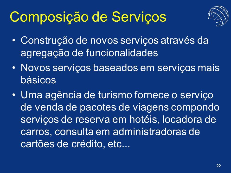 22 Composição de Serviços Construção de novos serviços através da agregação de funcionalidades Novos serviços baseados em serviços mais básicos Uma ag
