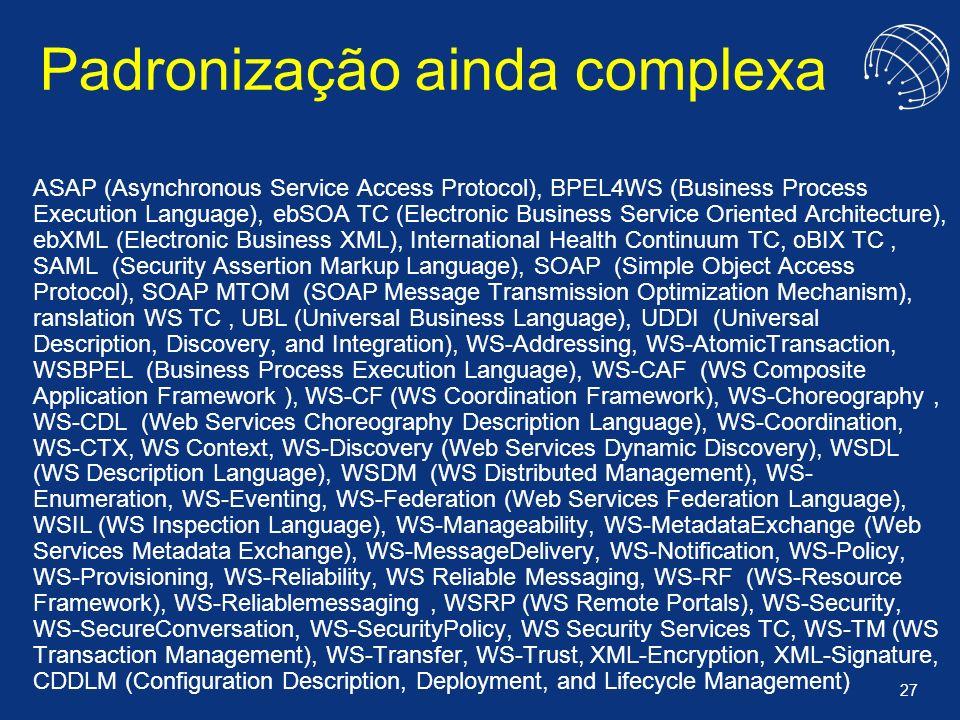27 Padronização ainda complexa ASAP (Asynchronous Service Access Protocol), BPEL4WS (Business Process Execution Language), ebSOA TC (Electronic Busine