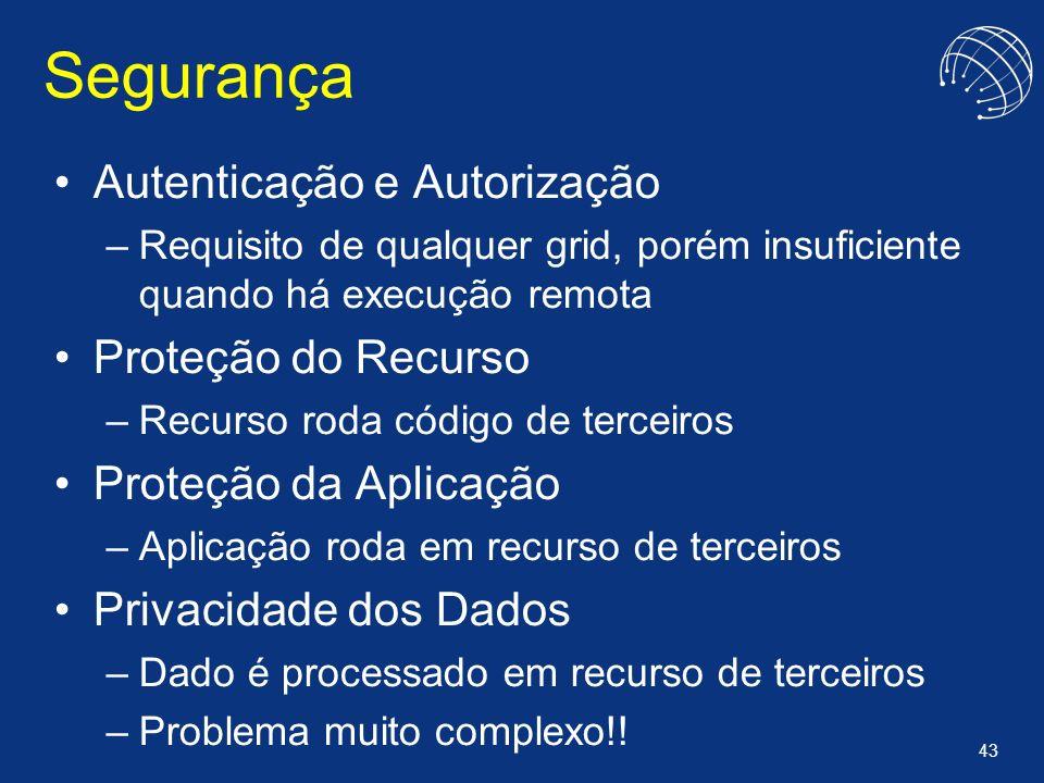 43 Segurança Autenticação e Autorização –Requisito de qualquer grid, porém insuficiente quando há execução remota Proteção do Recurso –Recurso roda có