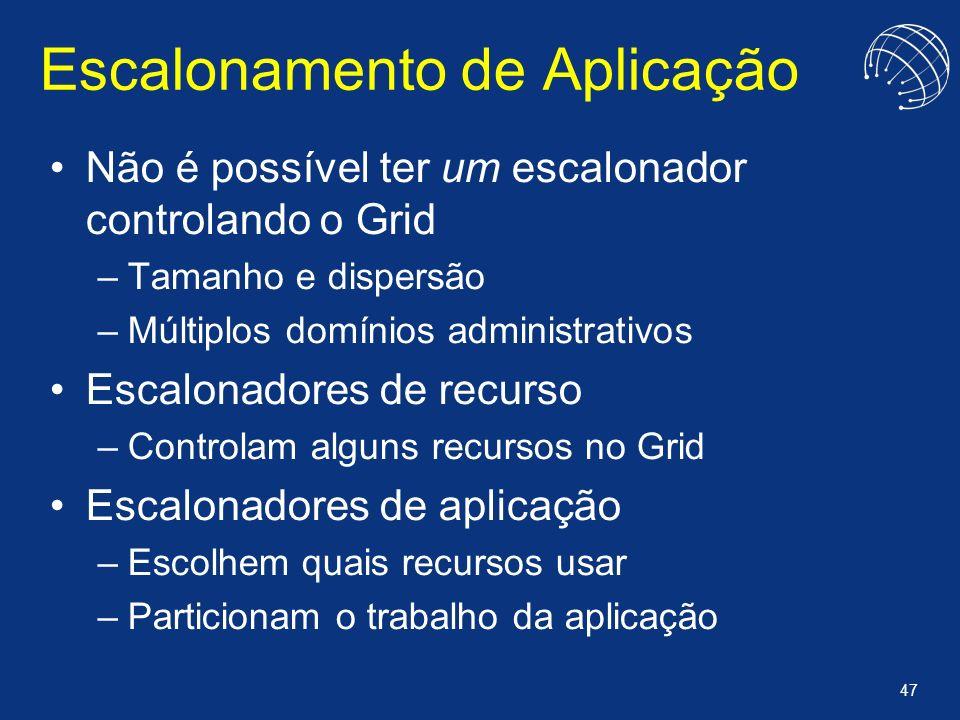 47 Escalonamento de Aplicação Não é possível ter um escalonador controlando o Grid –Tamanho e dispersão –Múltiplos domínios administrativos Escalonado