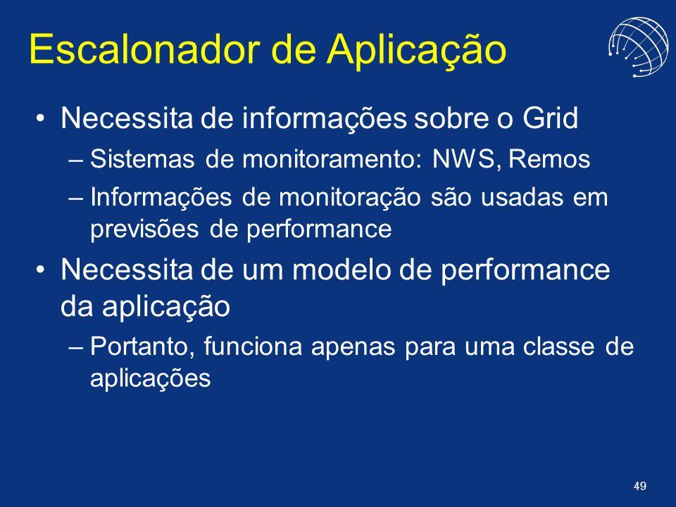 49 Escalonador de Aplicação Necessita de informações sobre o Grid –Sistemas de monitoramento: NWS, Remos –Informações de monitoração são usadas em pre
