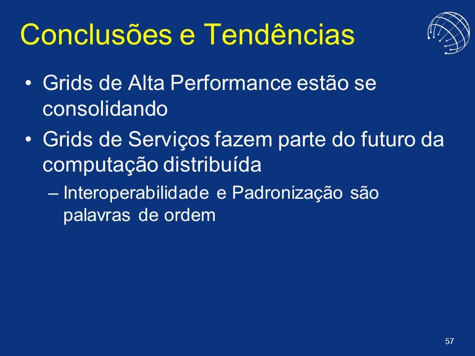 57 Conclusões e Tendências Grids de Alta Performance estão se consolidando Grids de Serviços fazem parte do futuro da computação distribuída –Interope