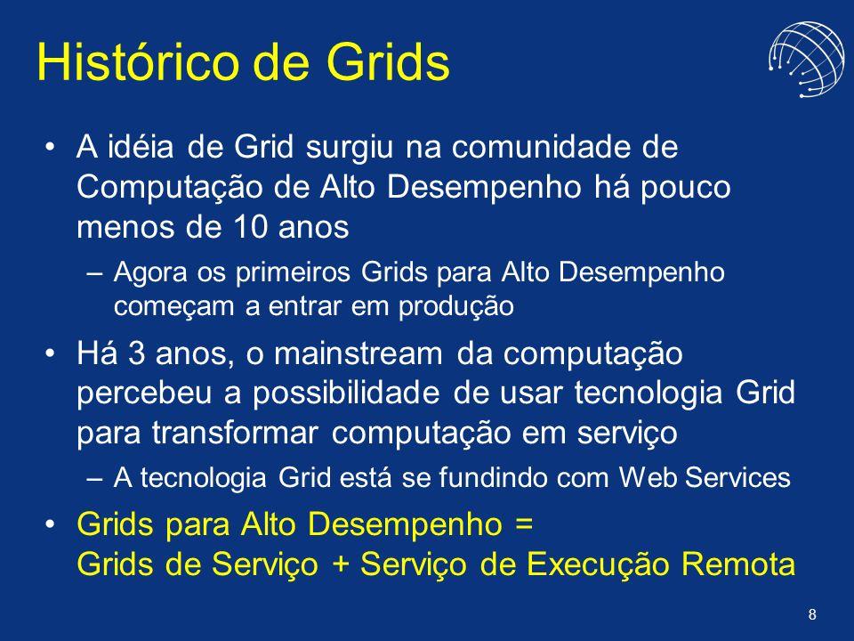 8 Histórico de Grids A idéia de Grid surgiu na comunidade de Computação de Alto Desempenho há pouco menos de 10 anos –Agora os primeiros Grids para Al