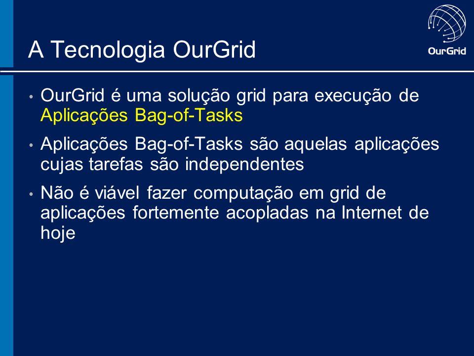 A Tecnologia OurGrid OurGrid é uma solução grid para execução de Aplicações Bag-of-Tasks Aplicações Bag-of-Tasks são aquelas aplicações cujas tarefas são independentes Não é viável fazer computação em grid de aplicações fortemente acopladas na Internet de hoje