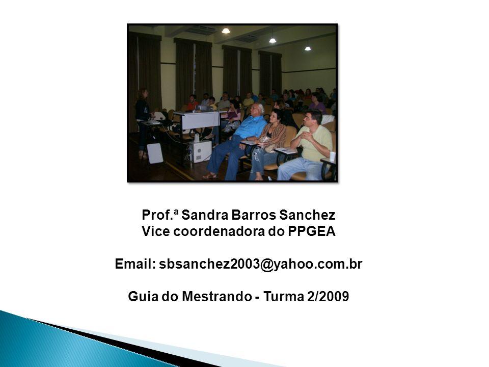 Prof.ª Sandra Barros Sanchez Vice coordenadora do PPGEA Email: sbsanchez2003@yahoo.com.br Guia do Mestrando - Turma 2/2009