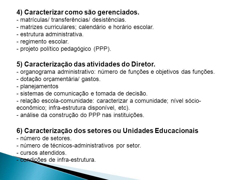 4) Caracterizar como são gerenciados. - matrículas/ transferências/ desistências. - matrizes curriculares; calendário e horário escolar. - estrutura a