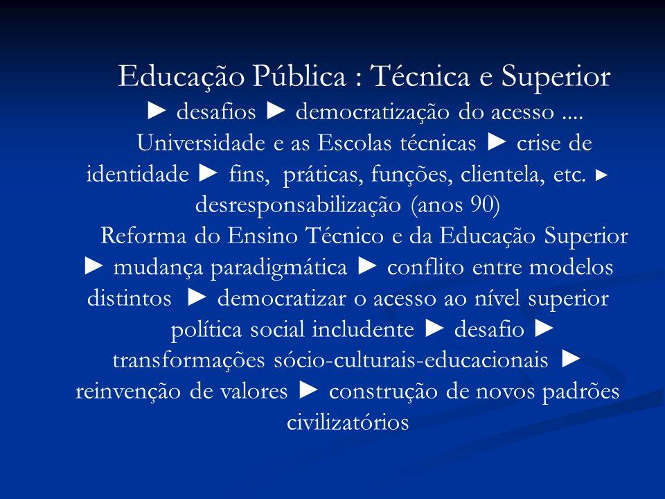 Educação Pública : Técnica e Superior desafios democratização do acesso.... Universidade e as Escolas técnicas crise de identidade fins, práticas, fun
