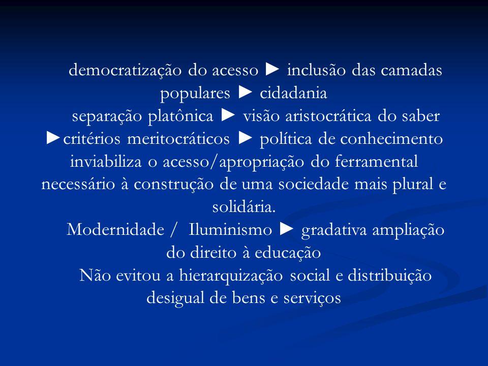 democratização do acesso inclusão das camadas populares cidadania separação platônica visão aristocrática do saber critérios meritocráticos política d