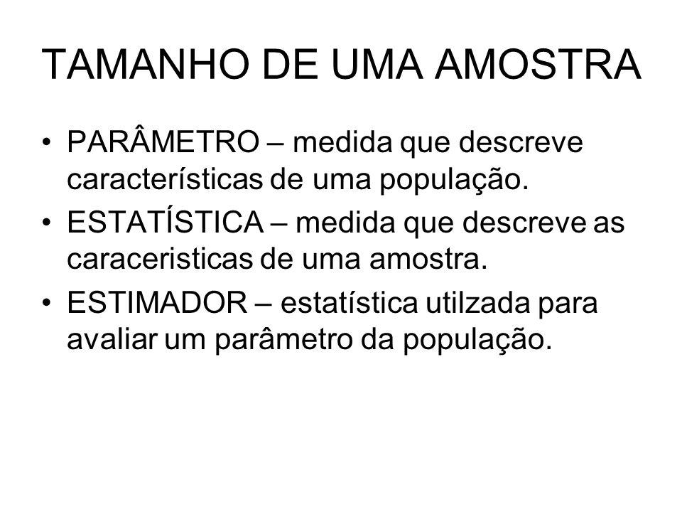 TAMANHO DE UMA AMOSTRA PARÂMETRO – medida que descreve características de uma população. ESTATÍSTICA – medida que descreve as caraceristicas de uma am