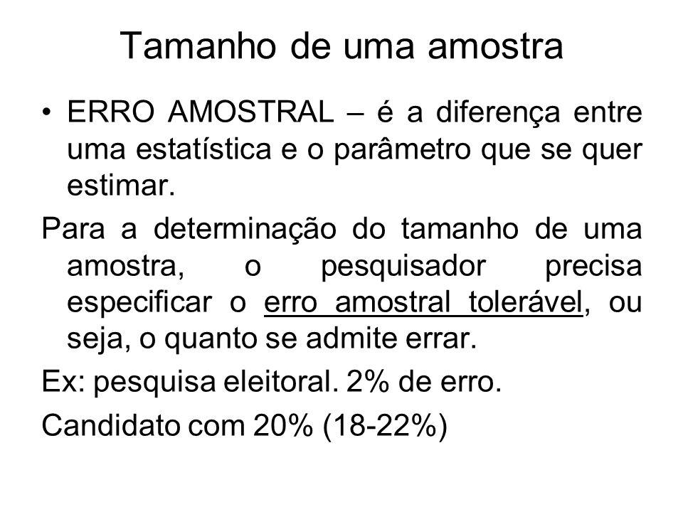Tamanho de uma amostra ERRO AMOSTRAL – é a diferença entre uma estatística e o parâmetro que se quer estimar. Para a determinação do tamanho de uma am