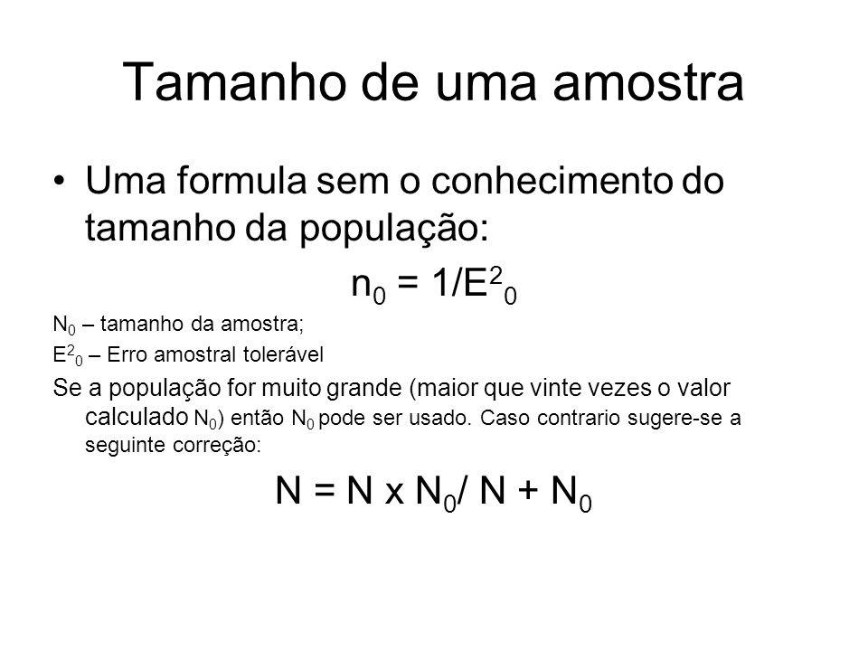 Tamanho de uma amostra Uma formula sem o conhecimento do tamanho da população: n 0 = 1/E 2 0 N 0 – tamanho da amostra; E 2 0 – Erro amostral tolerável