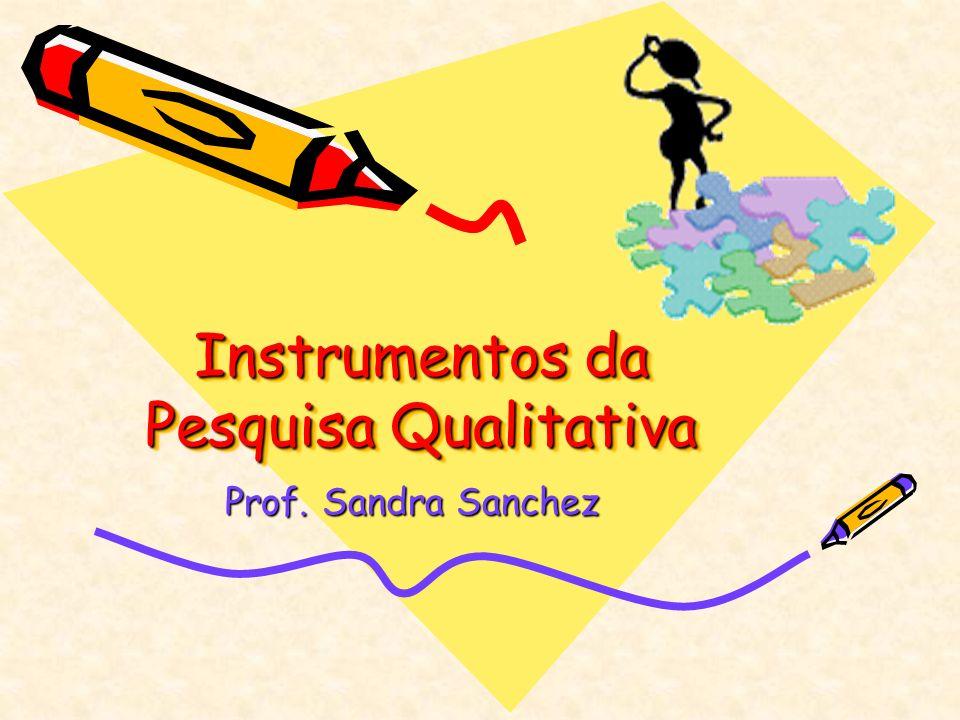 Instrumentos da Pesquisa Qualitativa Prof. Sandra Sanchez