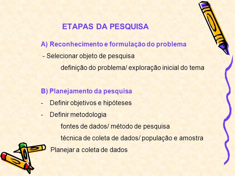 C) Execução da pesquisa - Preparar o campo (pré-teste) - Ir para o campo (coleta, conferencia, verificação, correção) - Processar e analisar os dados (digitação, análise, interpretação, conclusão e recomendação) D) Comunicação dos resultados - Redação de relatório e apresentação do resultado
